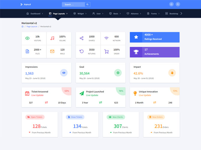 Horizontal-v2 Next Angular 8 Admin Template
