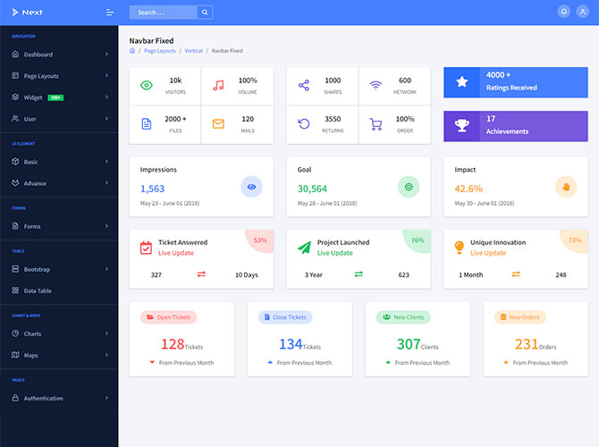 Navbar Fixed Next Angular 8 Admin Template