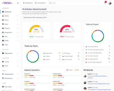 vertical layout of Treva Bootstrap Admin Template & UI KIT