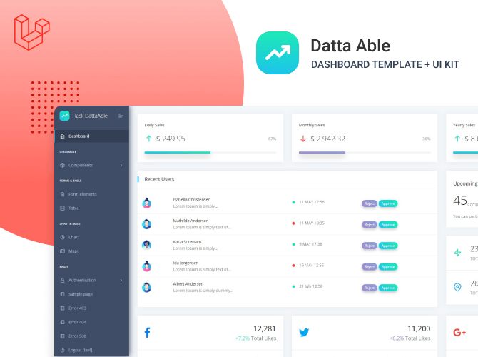 Datta Able Laravel Admin Dashboard